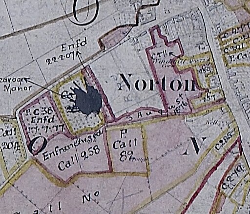 Extract from Ordnance Survey plan for Norton showing Bishopric property